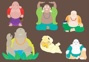 Illustrazione vettoriale di Buddha grasso in sei diverse posizioni del corpo