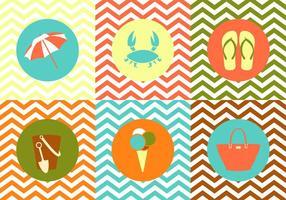 Raccolta di oggetti estivi su sfondo multicolore di Zig Zag vettore