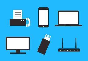 Set di dispositivi di archiviazione dati e di comunicazione in vettoriale