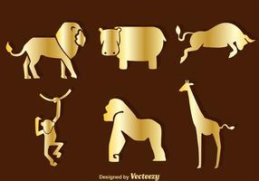Icone di sagoma di animali d'oro vettore