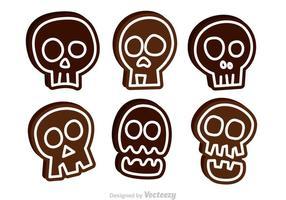 Icone divertenti di vettore del cranio