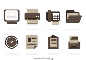 Icone vettoriali di ufficio in scala di grigi