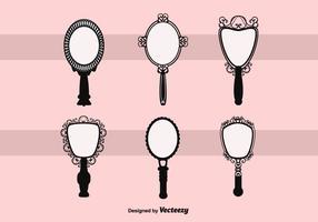 Specchio a mano vintage vettoriale gratuito