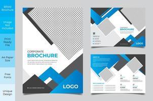 modello di volantino aziendale gradiente bianco grigio e blu