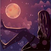 silhouette femminile incandescente al chiaro di luna. vettore