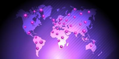 mappa globale viola che mostra pandemia globale