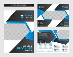 modello di volantino aziendale geometrico gradiente blu e nero vettore