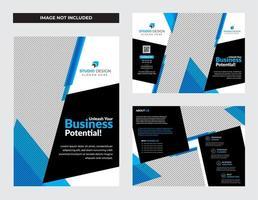 set di progettazione brochure pieghevole blu business aziendale