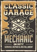 poster di riparazione meccanico auto retrò vettore