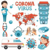 insieme di elementi medici di coronavirus e assistenza sanitaria