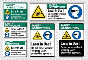 istruzioni per la sicurezza set di adesivi di avvertimento laser in uso vettore