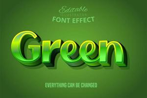 effetto testo metallico verde vettore
