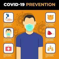 poster di prevenzione coronavirus con uomo e icone vettore
