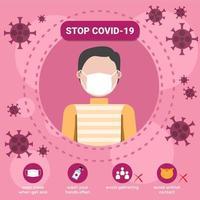 fermare il modello di educazione al coronavirus covid-19 vettore