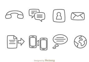 Icone di contorno mobile vettore