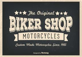 Retro illustrazione del negozio di motociclisti dell'annata vettore