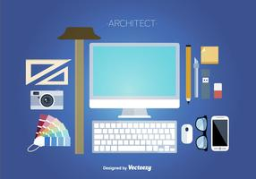 Icone piane di strumenti di architettura