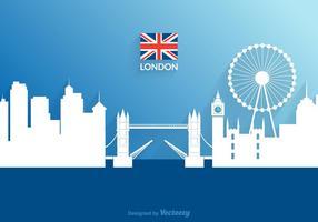 Paesaggio urbano di Londra del ritaglio di carta di vettore libero