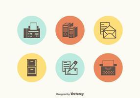 Retro icone di vettore di forniture per ufficio gratis