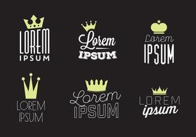 Fondo tipografico di vettore con il logo della corona