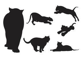 Silhouette vettoriali di tigri