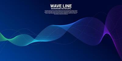 curva blu della linea d'onda sonora vettore
