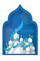 Ramadan Kareem calligrafia design in stile carta blu