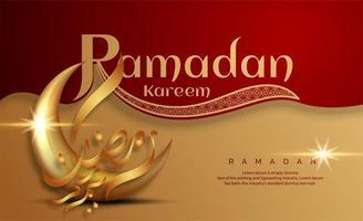 Ramadan Kareem rosso e oro con calligrafia a mezzaluna