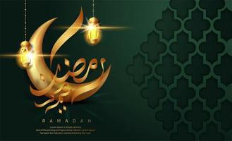 Ramadan Kareem verde con messaggio di calligrafia nella luna vettore