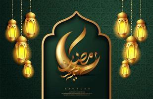 disegno della cartolina d'auguri in rilievo verde ramadan kareem vettore