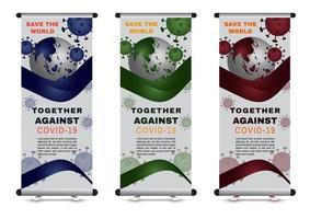 virus corona roll up banner con globo e virus