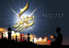 disegno di preghiera del Ramadan Kareem