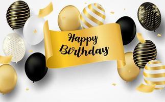 carta di compleanno con palloncini e banner dorato vettore
