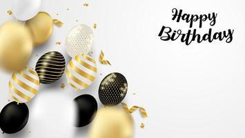 carta di compleanno con palloncini neri, bianchi, oro vettore