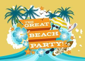 illustrazione del manifesto festa in spiaggia vettore