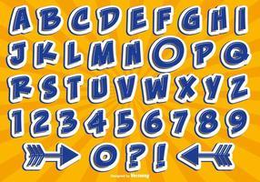 Set di alfabeto di stile comico vettore