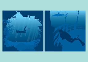 Sfondi sott'acqua blu vettore