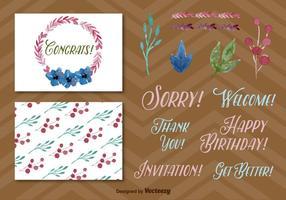 Elementi di cartolina d'auguri acquerelli
