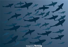 Siluetta di squalo di vettore da sotto