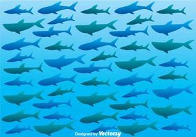 Silhouette di squalo sul mare vettore