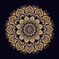 mandala fantasia fiori d'oro vettore