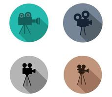 set di icone fotocamera film film vettore