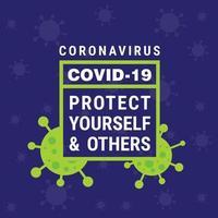 covid 19 poster con testo in cornice verde