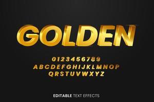 effetto dorato di stile del testo 3d vettore