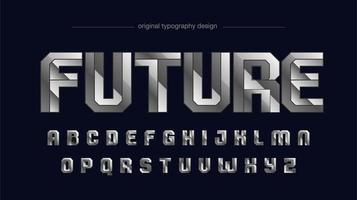 tipografia futuristica sportiva in metallo cromato argento