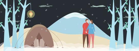 gli amanti del campeggio nella foresta di notte