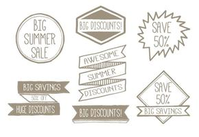 Set di etichette promozionali disegnate a mano