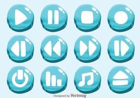 Vettori di pulsanti del lettore multimediale di ghiaccio