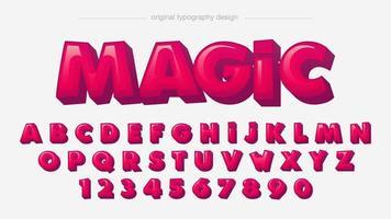 alfabeto rosso grassetto 3d dei cartoni animati vettore
