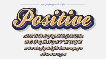 calligrafia colorata arancione carattere artistico 3d vettore